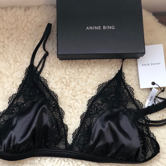 228a6671217fa Anine Bing Satin Bra with lace trim.